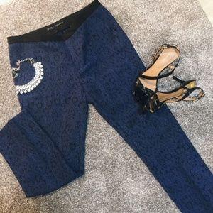 Zara Navy Blue Jacquard Trousers - Size S BNWT